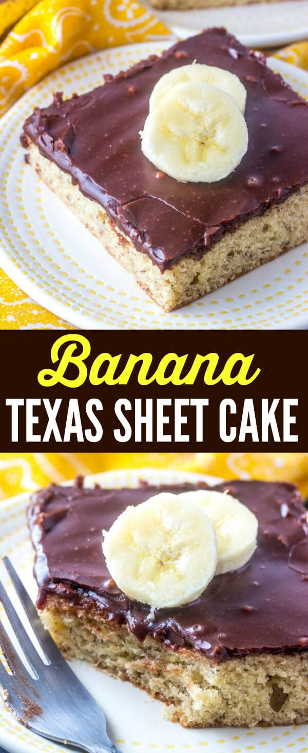 A delicious banana spiked cake is glazed with a rich chocolate poured frosting making this Banana Texas Sheet Cake the ultimate flavor combination. #cake #banana #texassheetcake #baking #chocolate #sheetcake