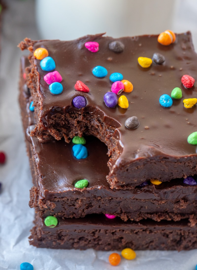 Cosmic Brownies stacked with bite taken out