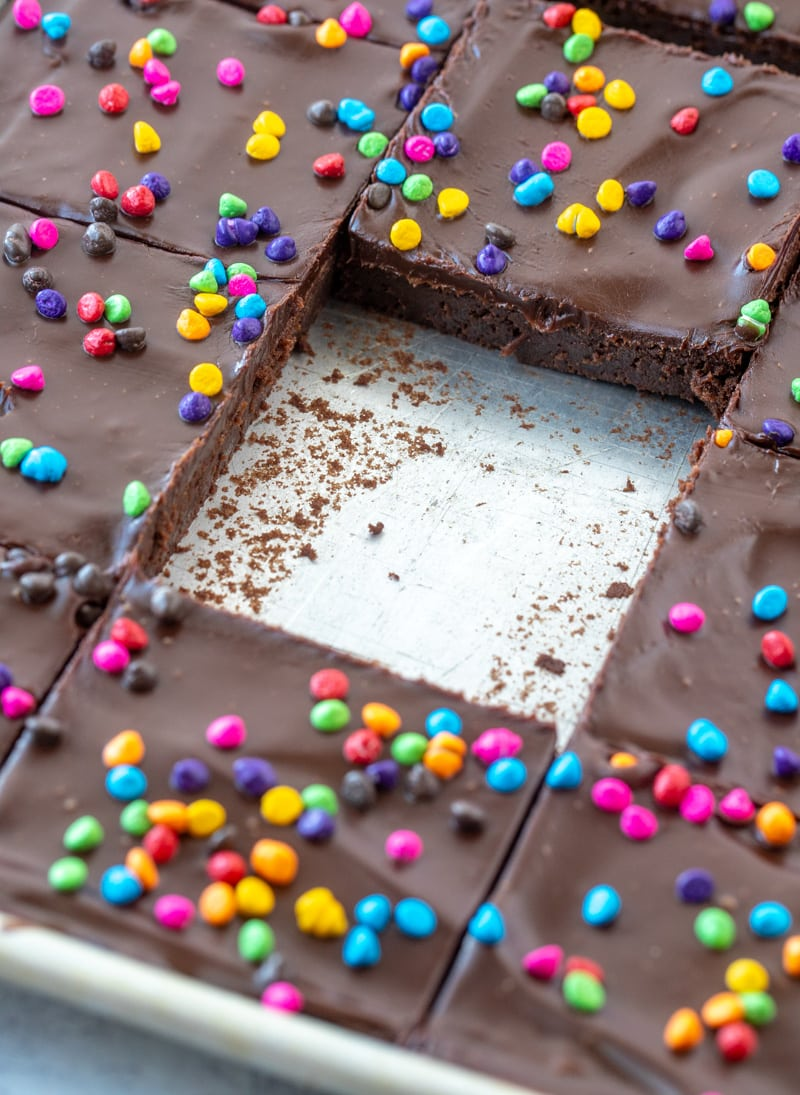 Cosmic Brownies in pan with slice taken out