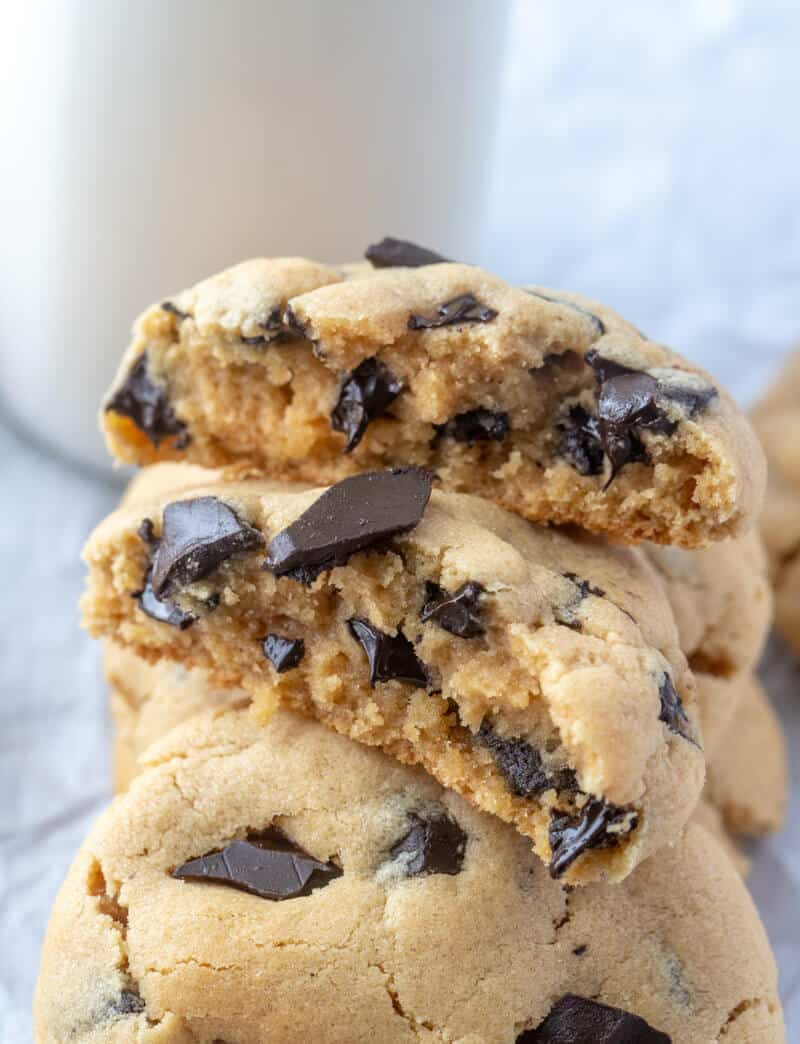 peanut butter cookies split in half with gooey chocolate chunks