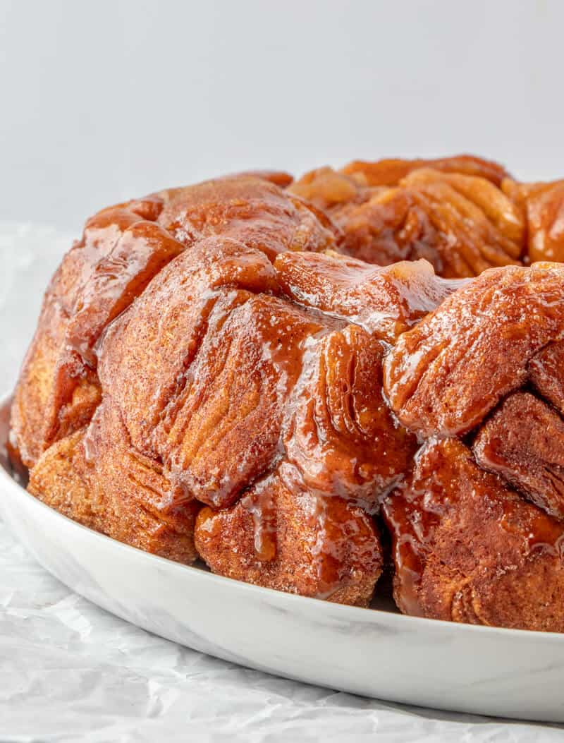 Monkey bread on serving tray side angle