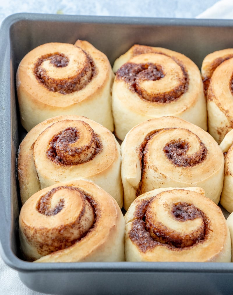 Cinnamon Rolls in pan baked without glaze