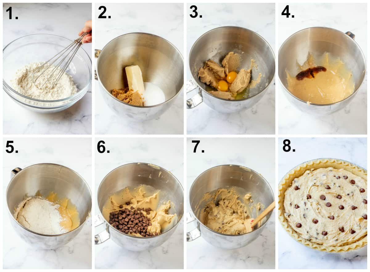 Step by step photos on how to make chocolate chip pie