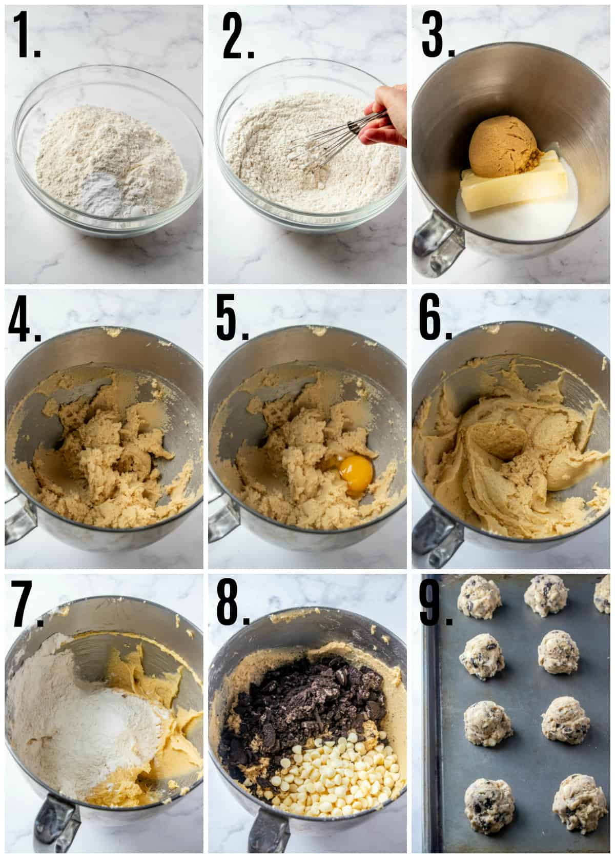 Step by step photos on how to make Cookies and Cream Cookies