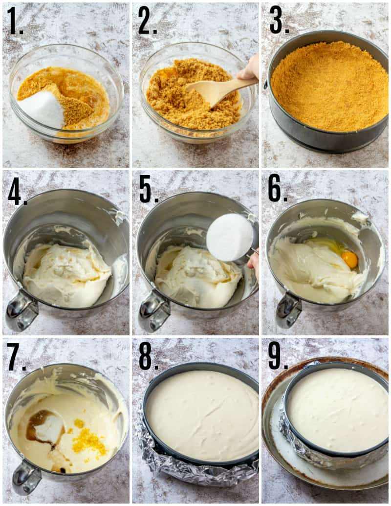 Step by step photos on how to make a classic cheesecake recipe