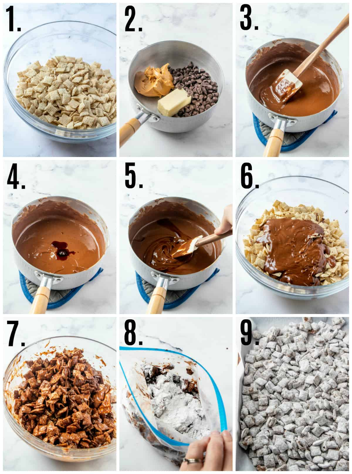 Step by step photos on how to make puppy chow