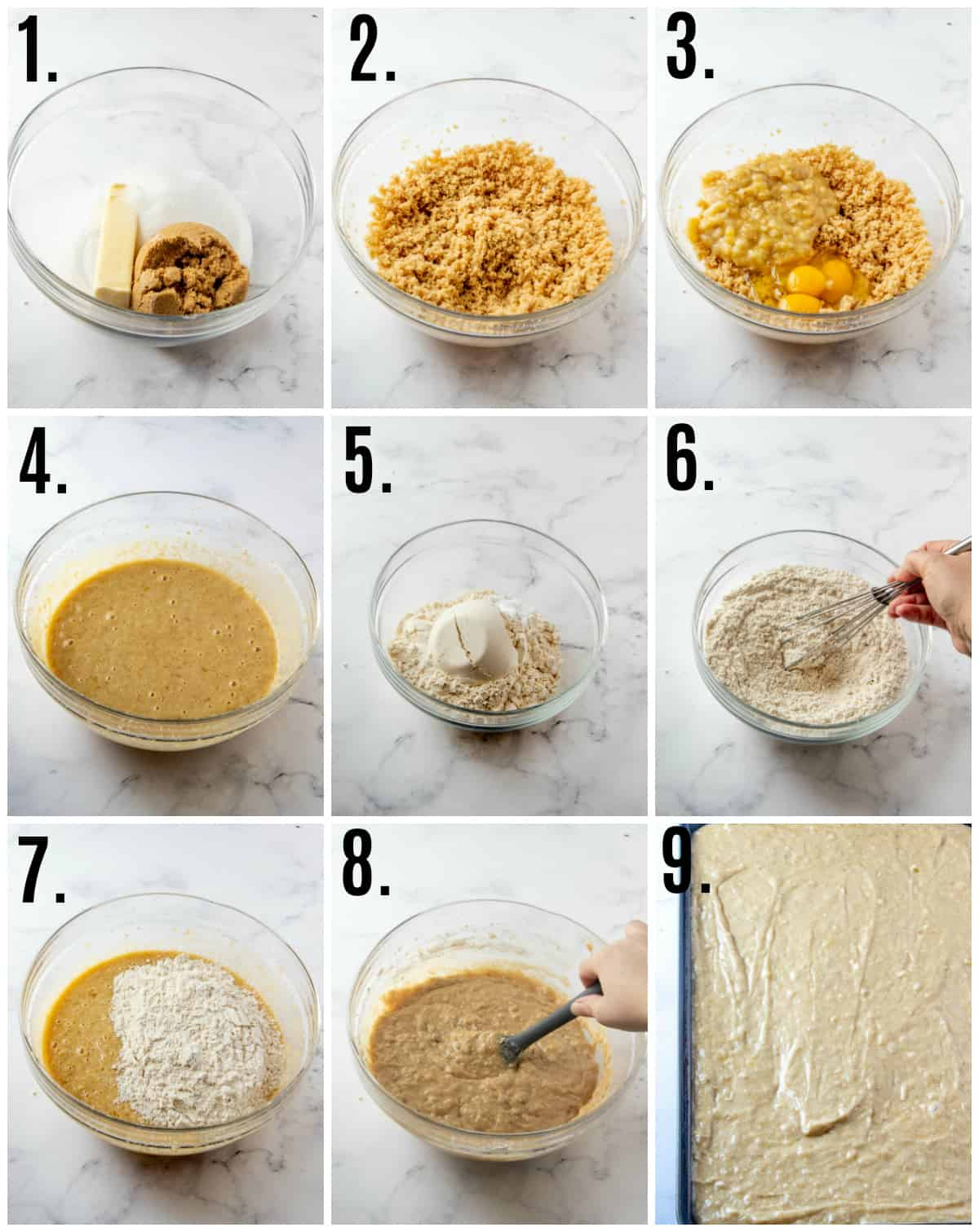 Step by step photos on how to make banana bars