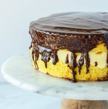 Finished Boston Cream Pie on cake stand