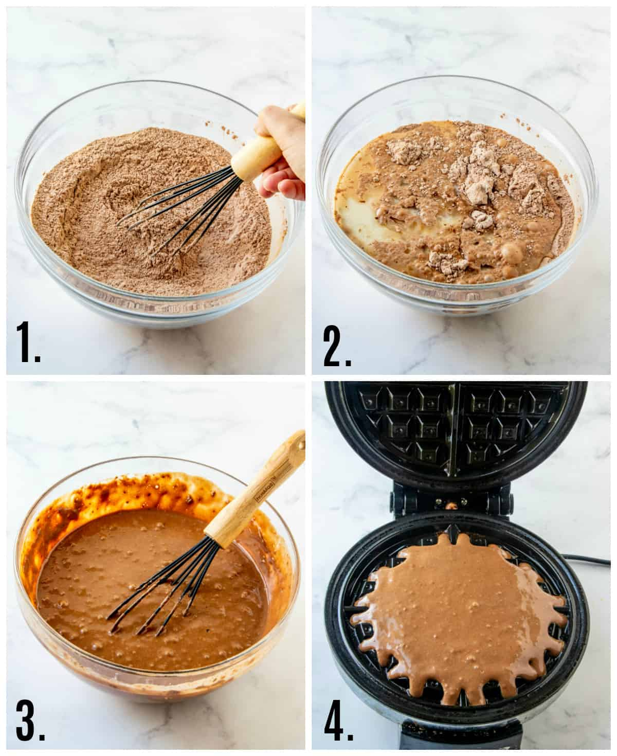 Step by step photos on how to make chocolate waffles
