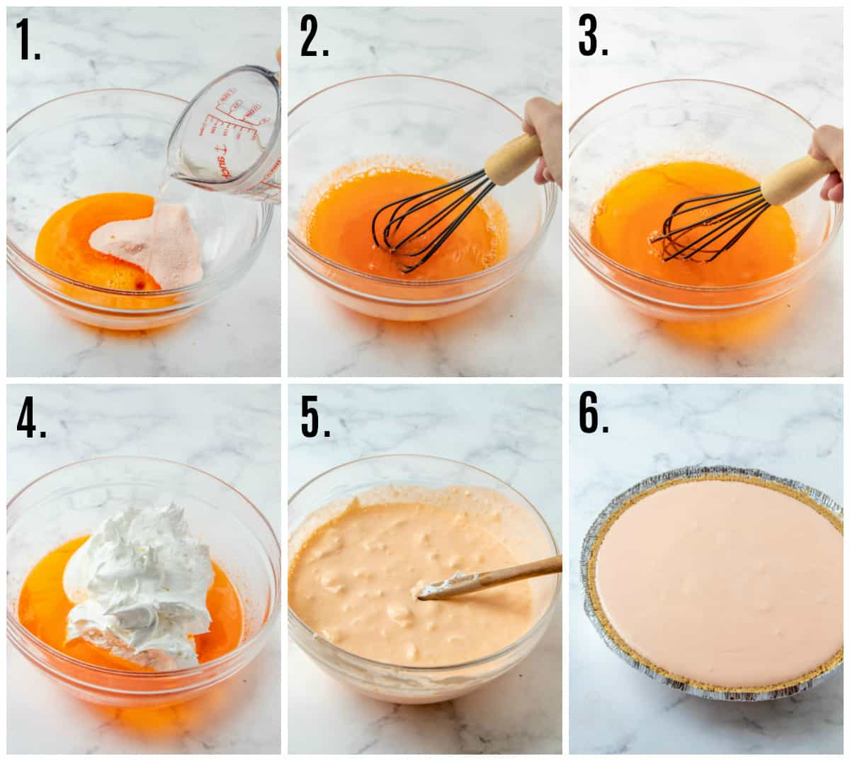 Step by step photos on how to make Creamsicle Jello Pie