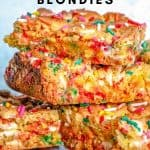 Pinterest image of stacked blondies