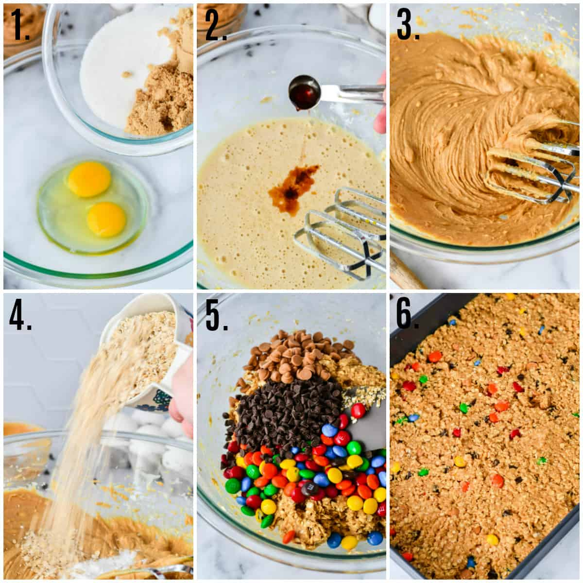 Step by step photos on how to make Monster Cookie Bars