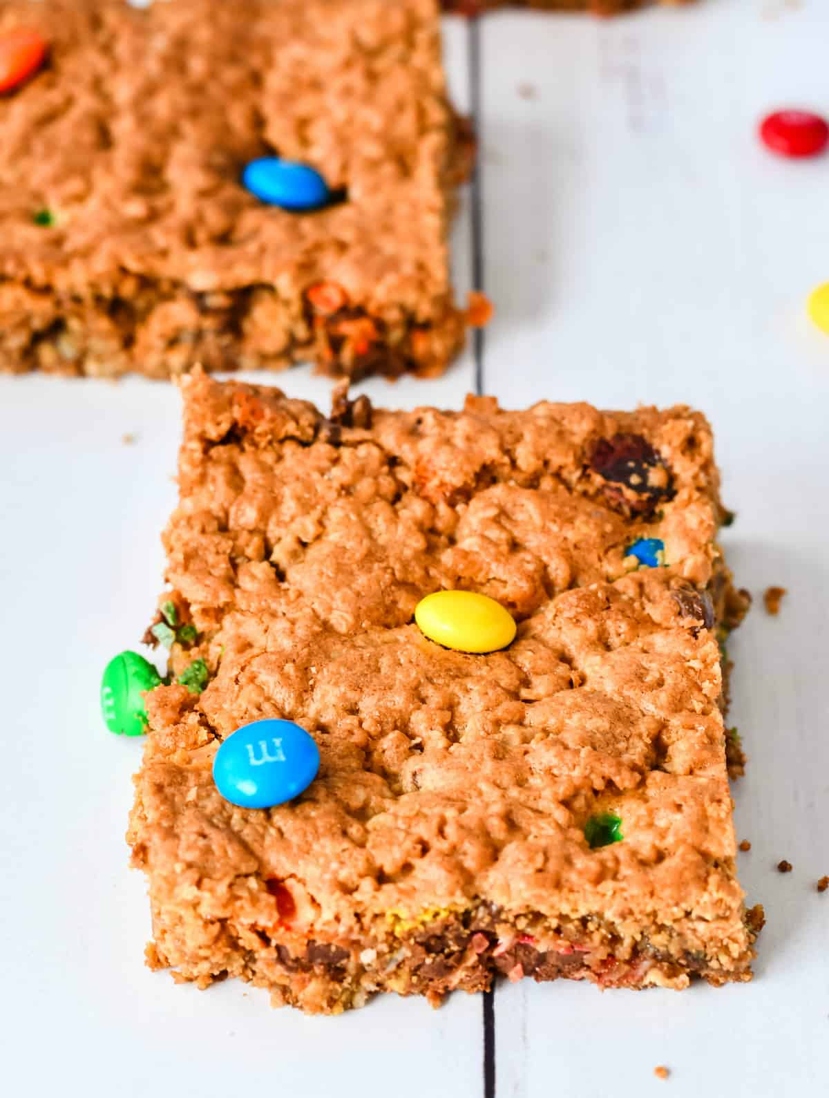 Close up of one bar topped with M&M's
