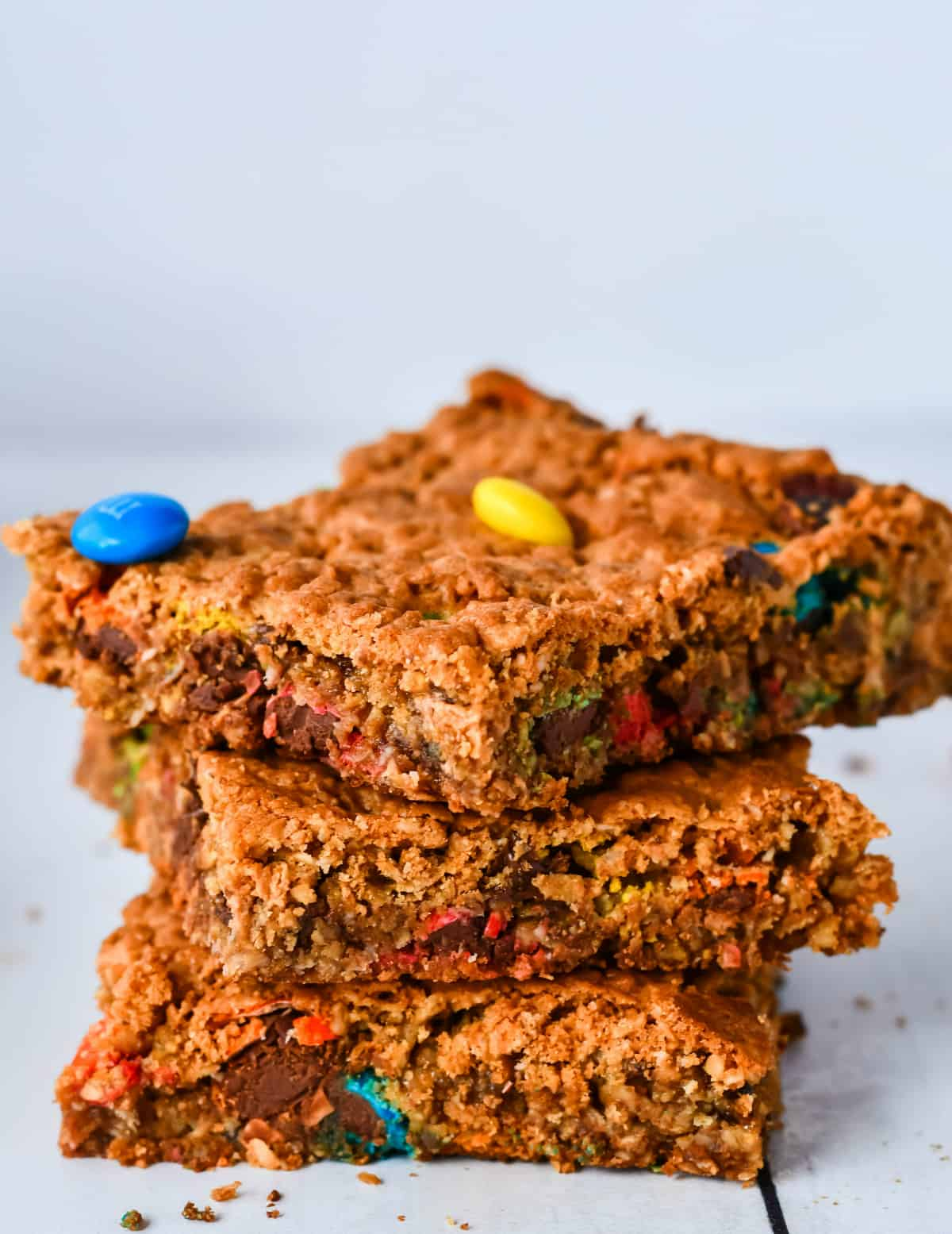 Three stacked Monster Cookie Bars