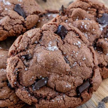 Close up of stacked Nutella Cookies