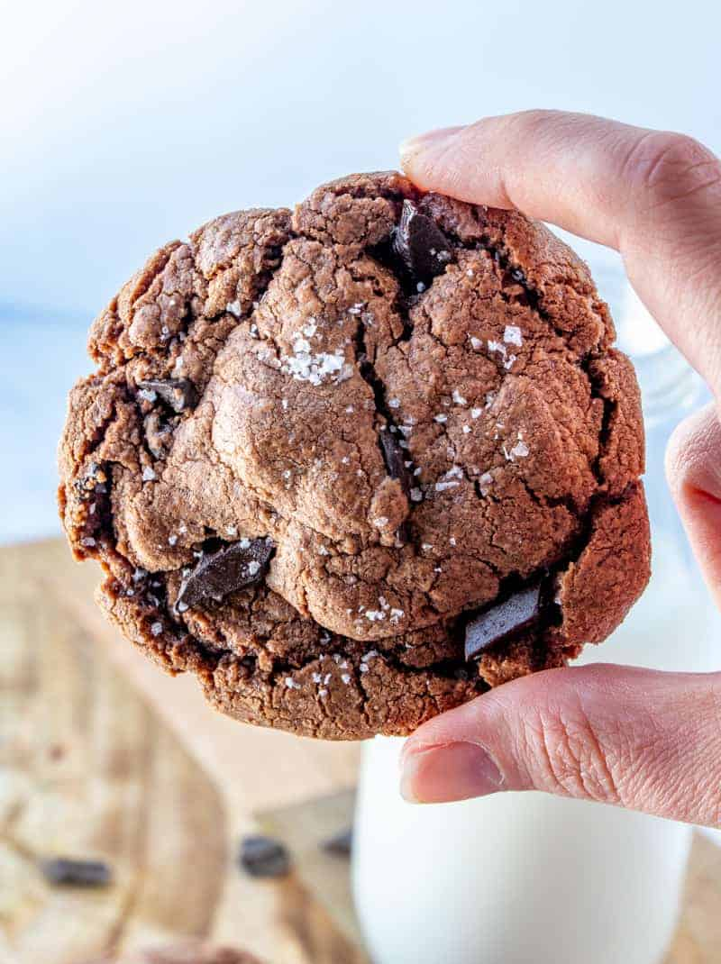 Hand holding one Easy Nutella Cookie