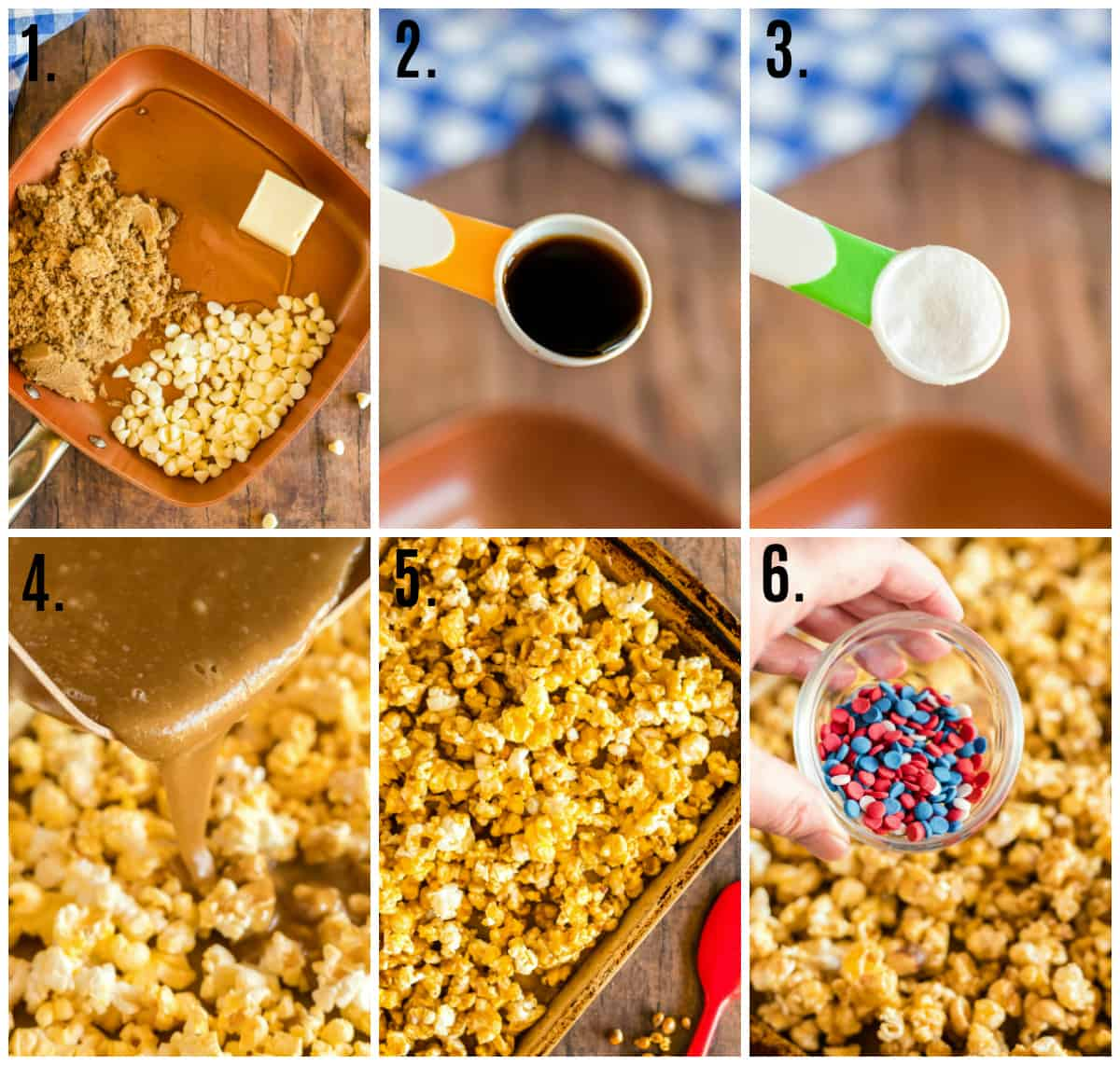 Step by step photos on how to make White Chocolate Popcorn