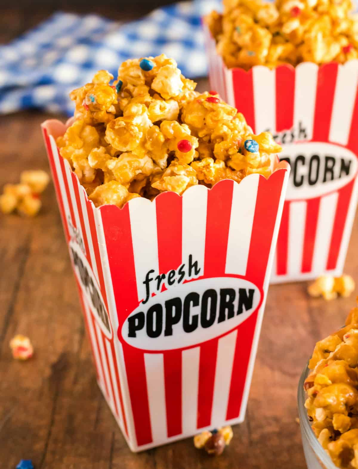 Popcorn bucked filled with White Chocolate Popcorn