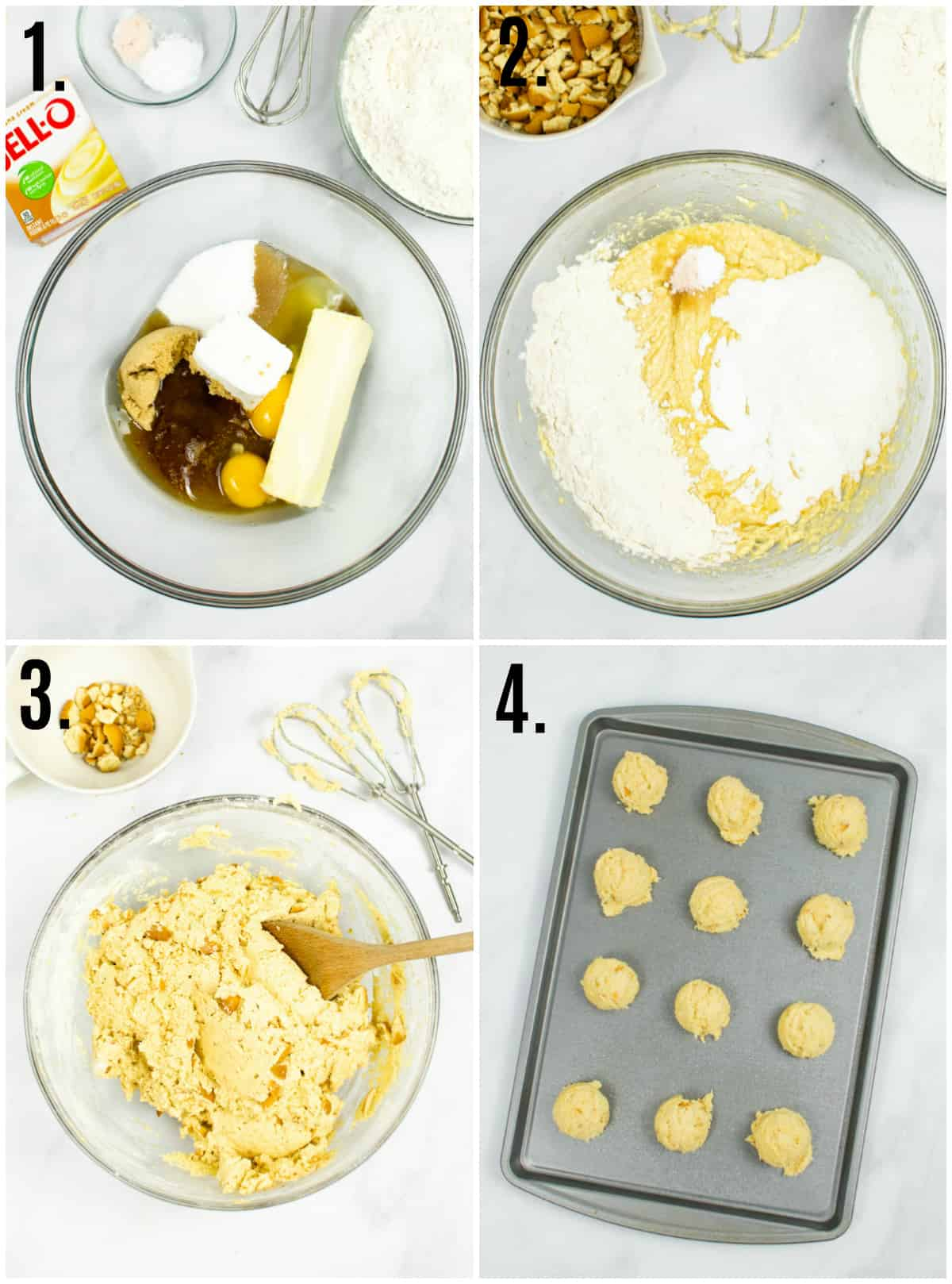 Step by step photos on how to make Banana Pudding Cookies