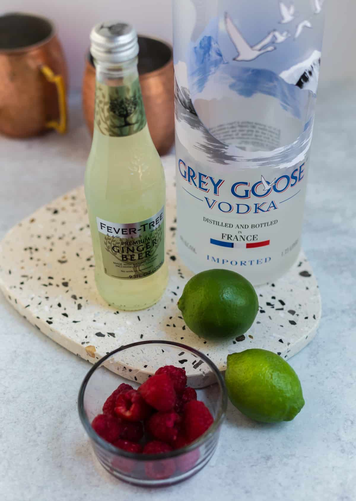Ingredients needed to make Moscow Mules