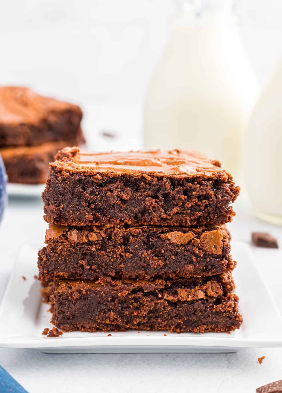 Three stacked brownies