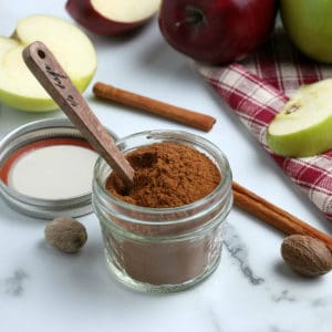 Apple Pie Spice in jar with spoon square image
