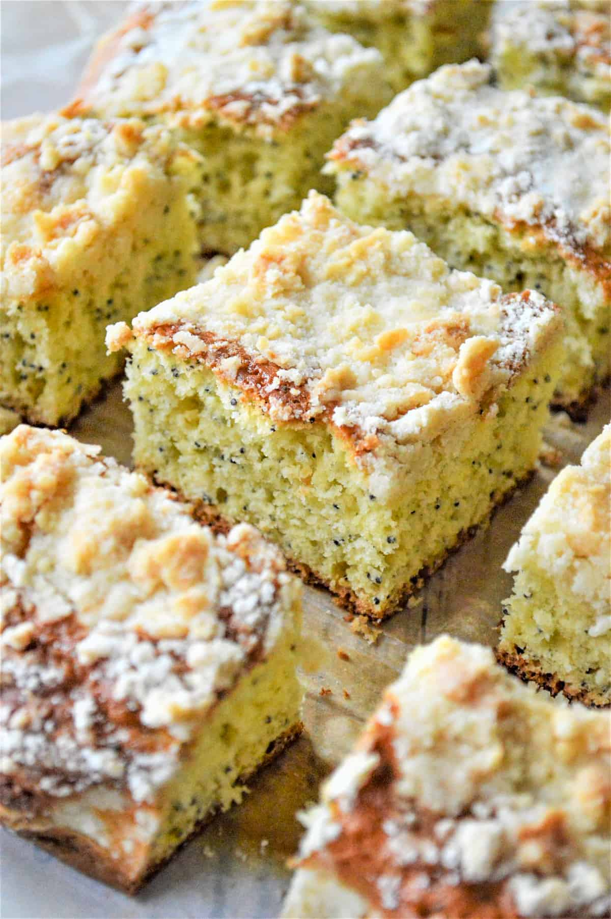 Coffee cake cut into squares