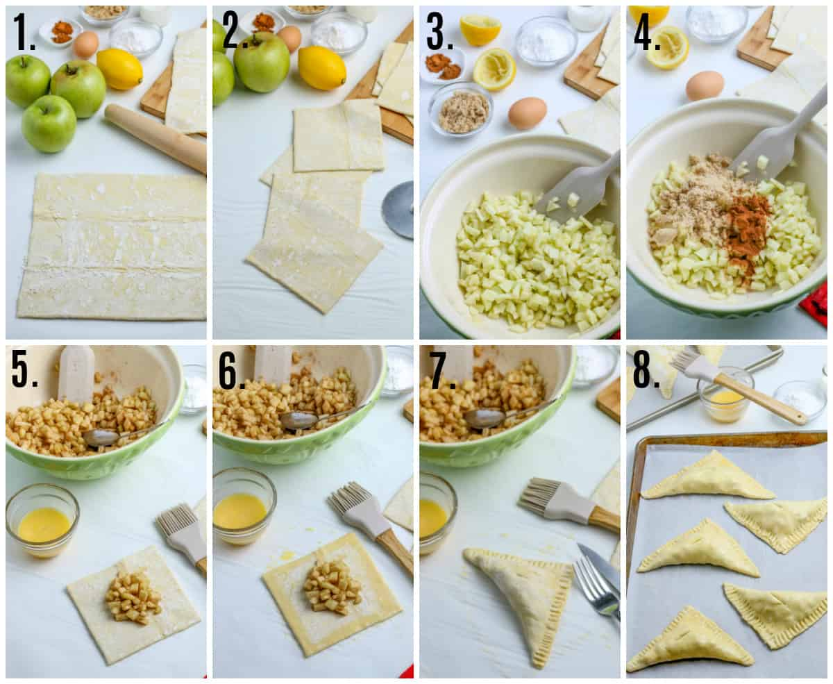Step by step photos on how to make Apple Turnovers