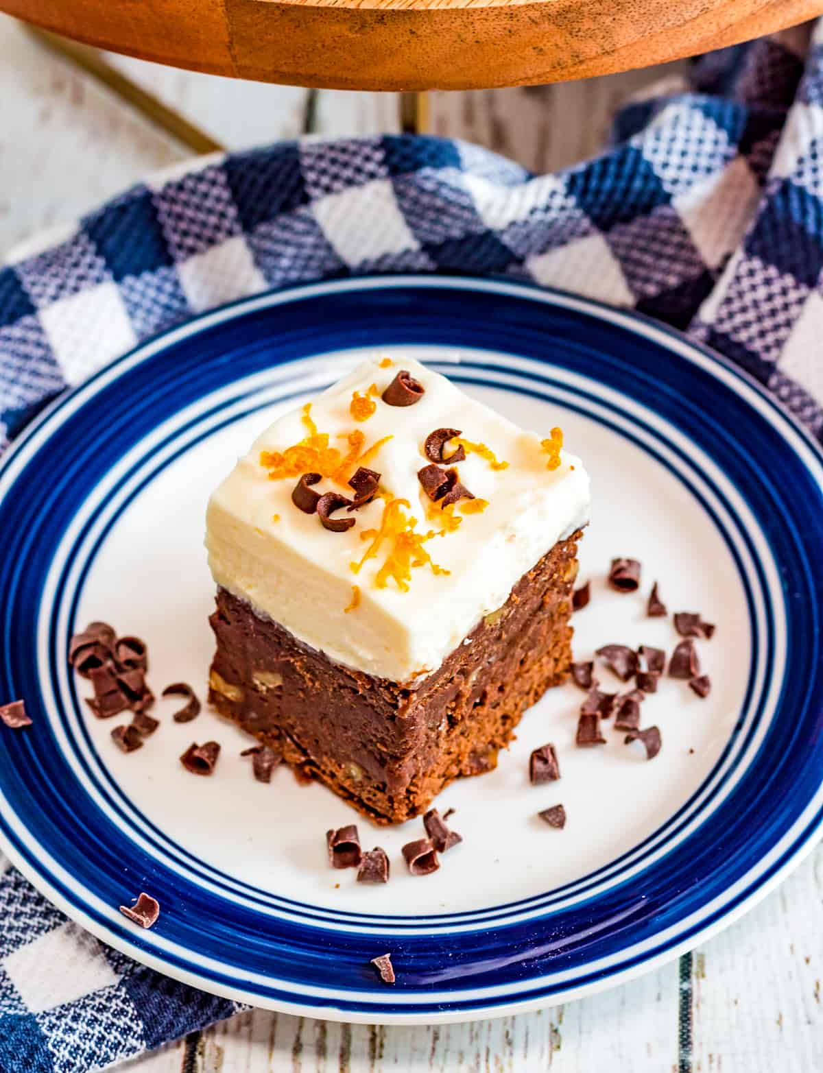 Overhead of Chocolate Orange Brownie on plate with chocolate curls
