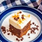 Brownies on plate with chocolate curls Pinterest image