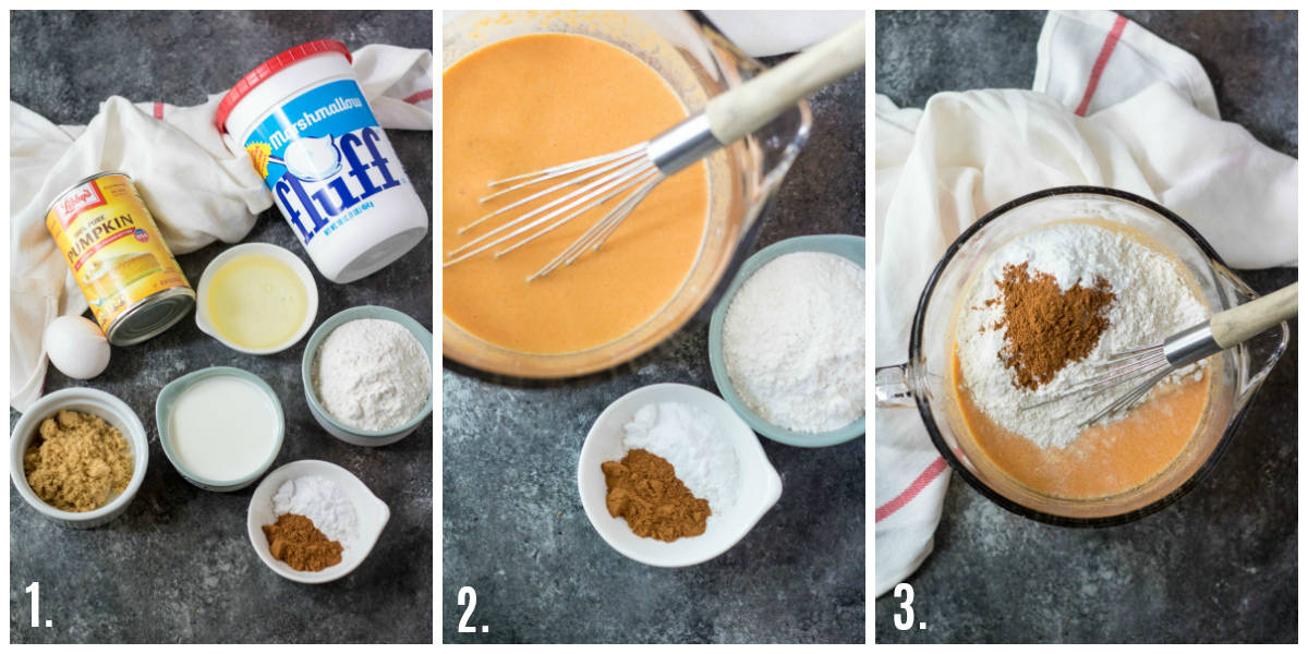 Step by step photos on how to make Marshmallow Pumpkin Pancakes