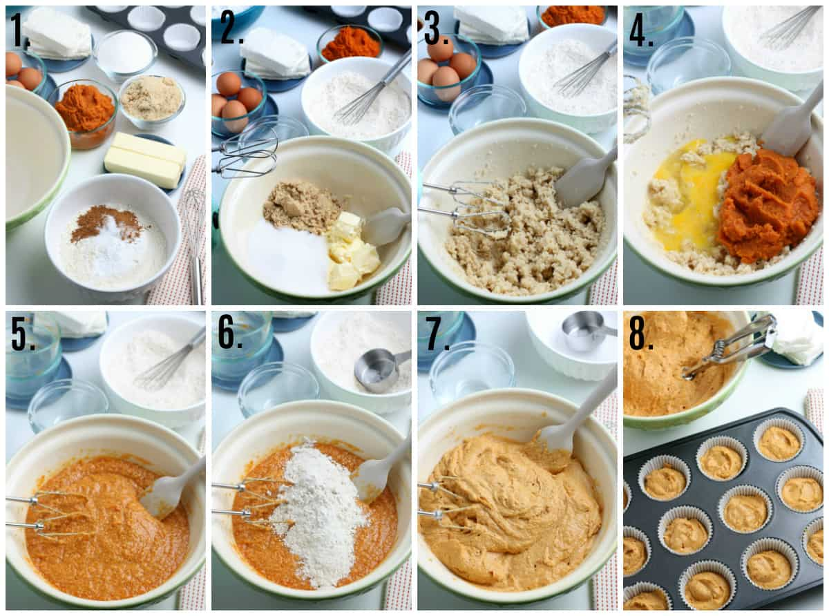 Step by step photos on how to make Pumpkin Cupcakes