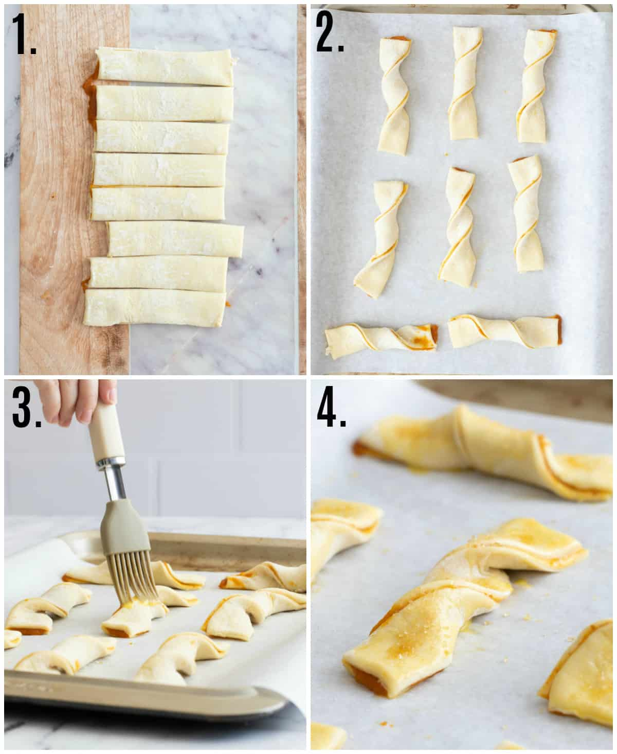 Step by step photos on how to make Puff Pastry Twists