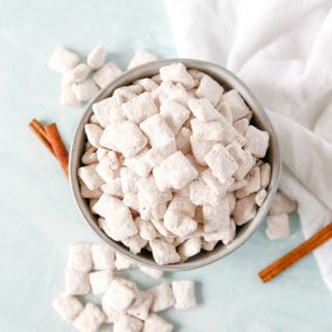 Square image of overhead Puppy Chow in bowl