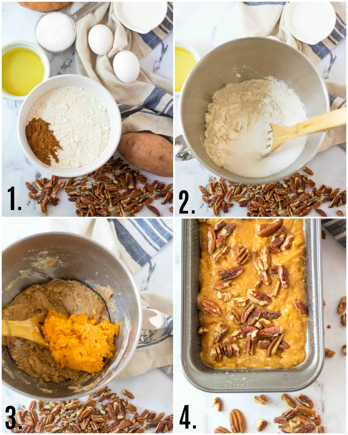 Step by step photos on how to make Sweet Potato Bread