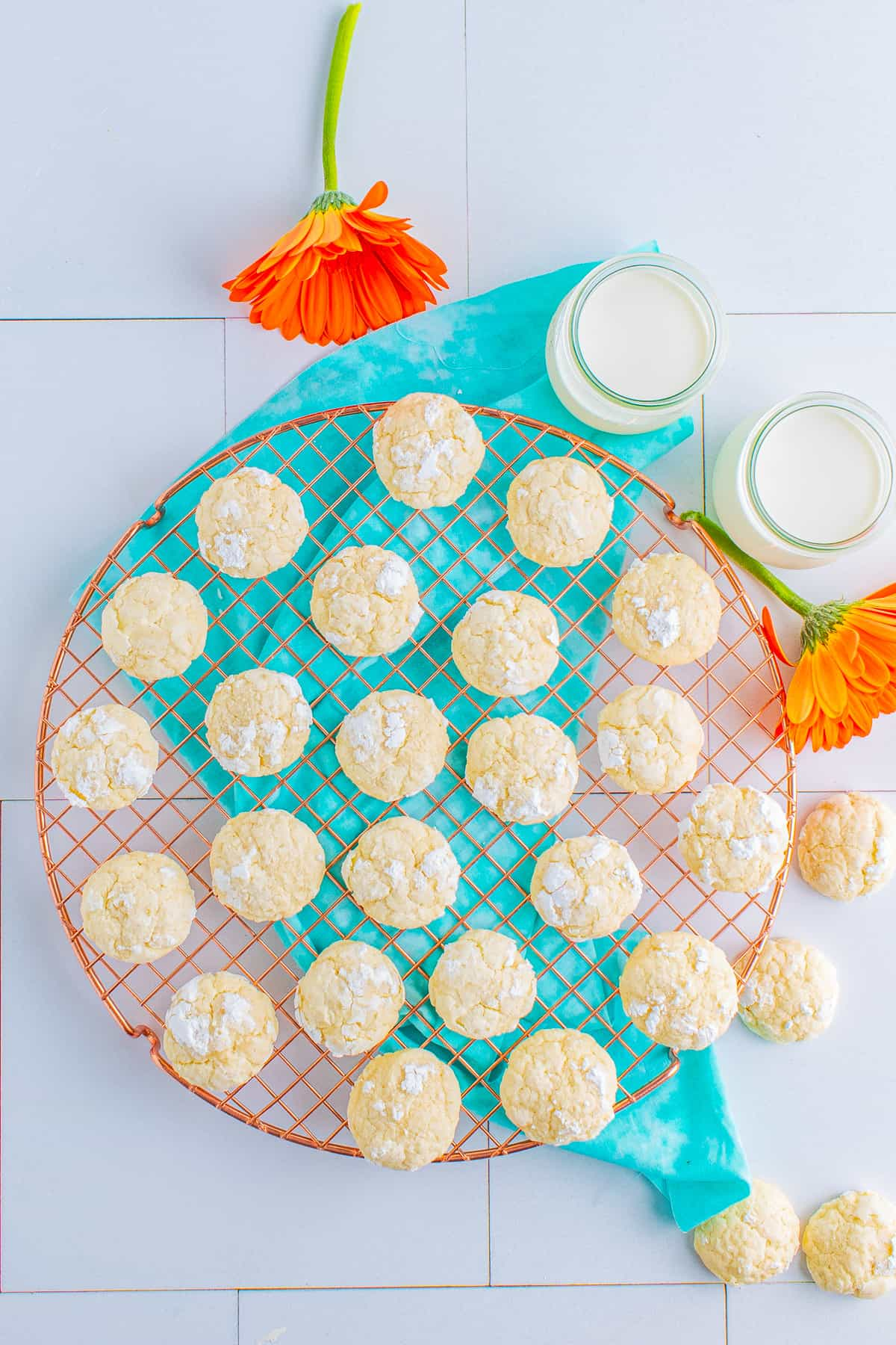 Overhead photo of Cream Cheese Cookies on wire rack