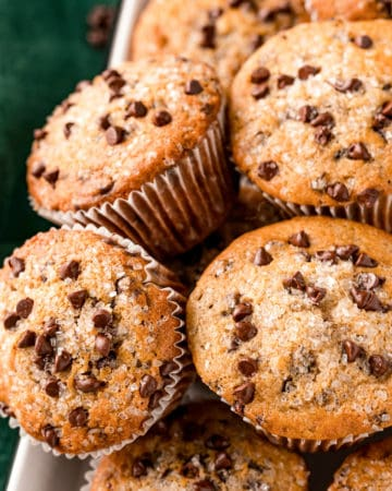 Close up of stacked muffins on tray square image