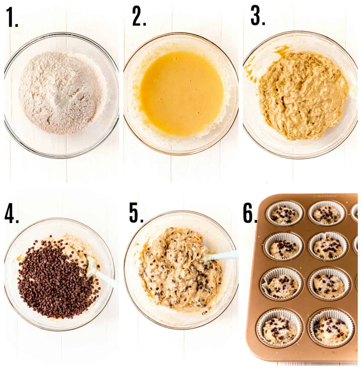 Step by step photos on how to make Easy Chocolate Chip Muffins