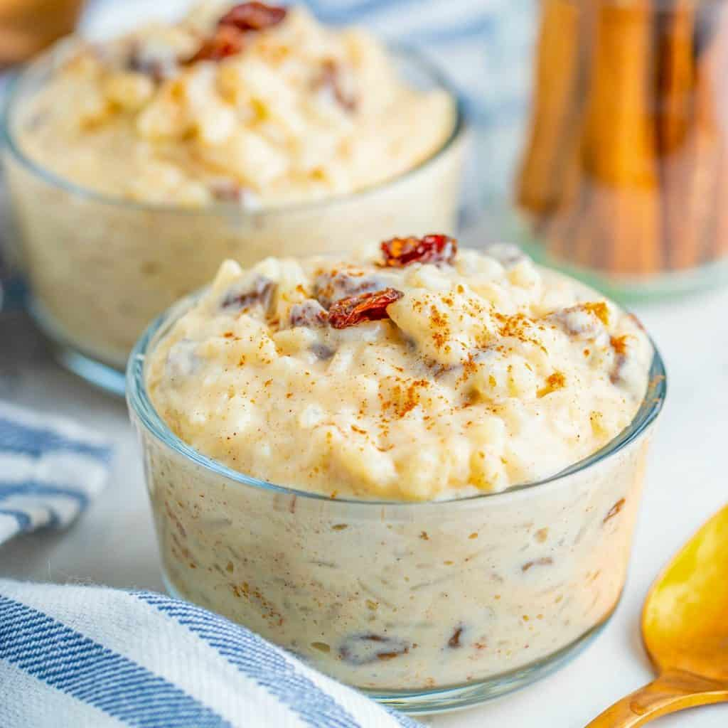 Easy Rice Pudding in small dishes Square image