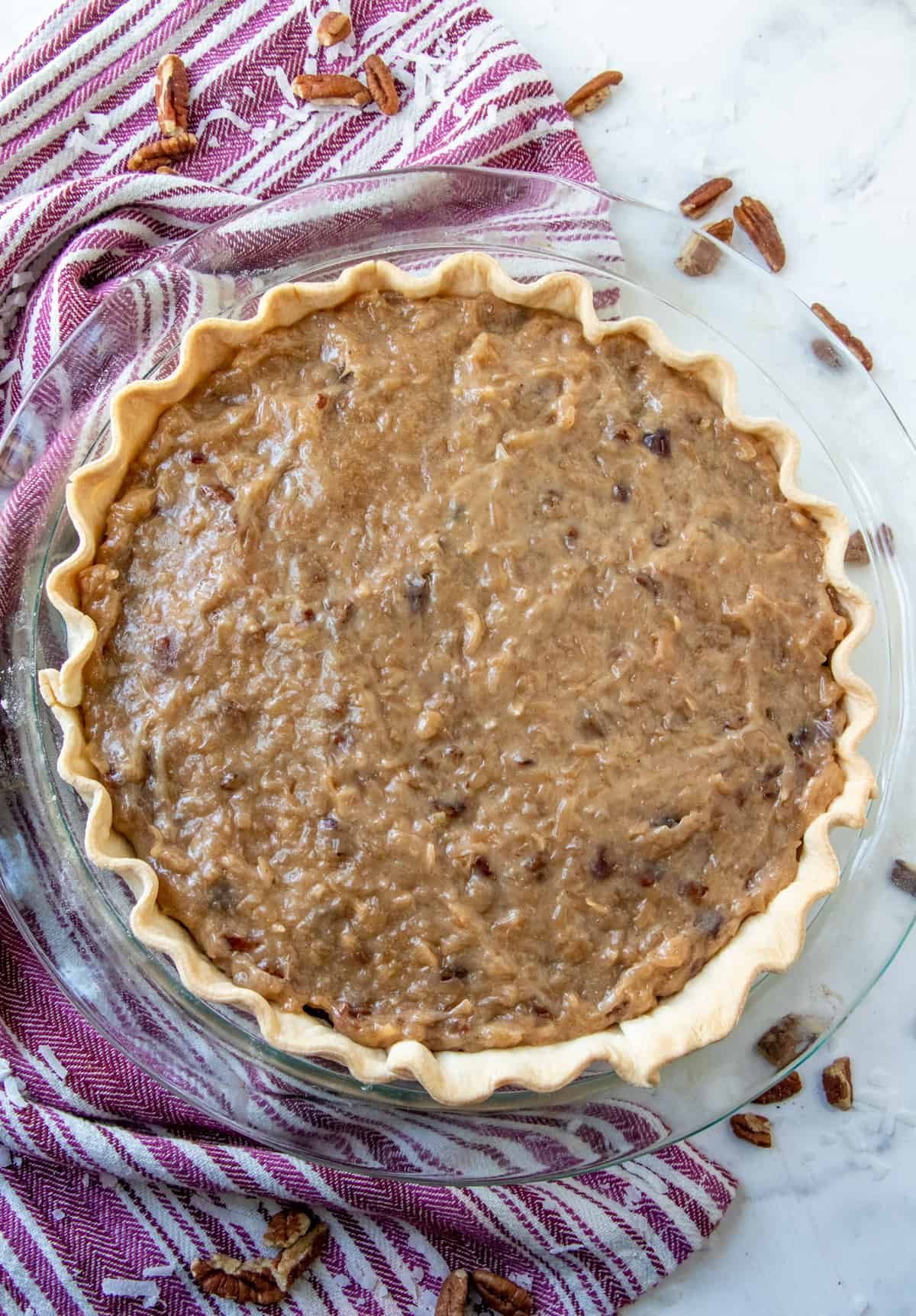 Overhead photo of frosted German Chocolate Pie Recipe