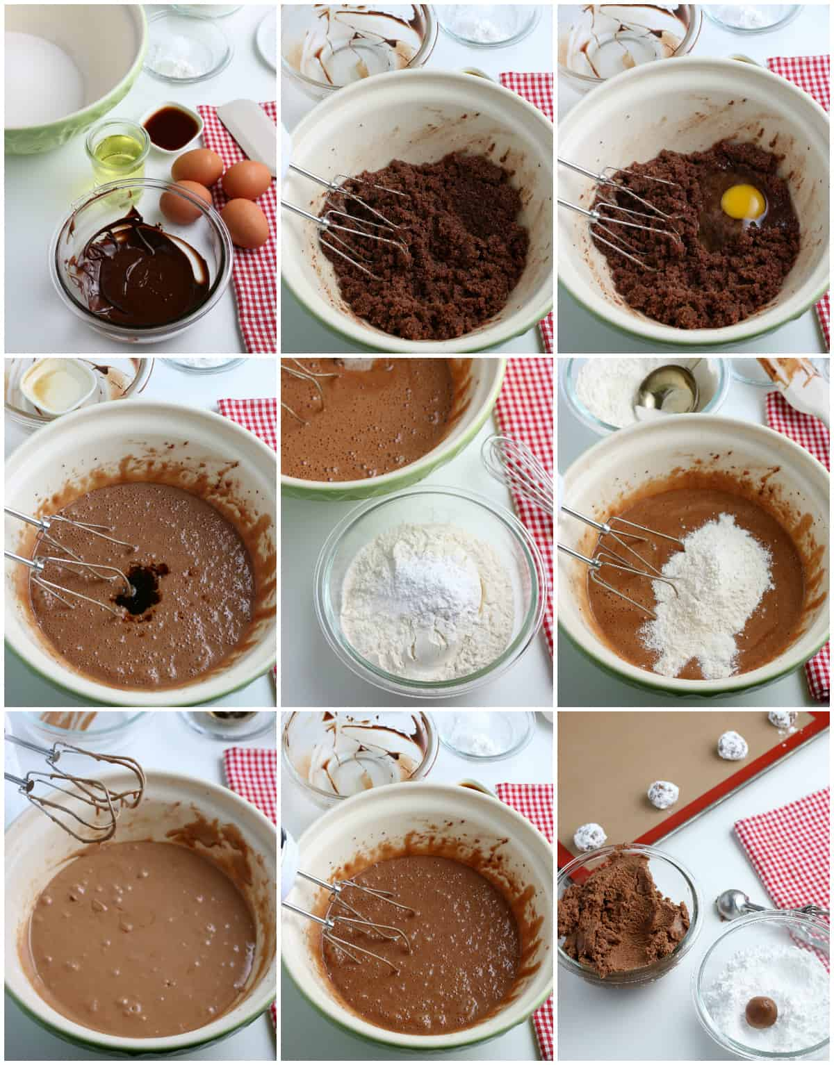 Step by step photos on how to make Chocolate Crinkle Cookies