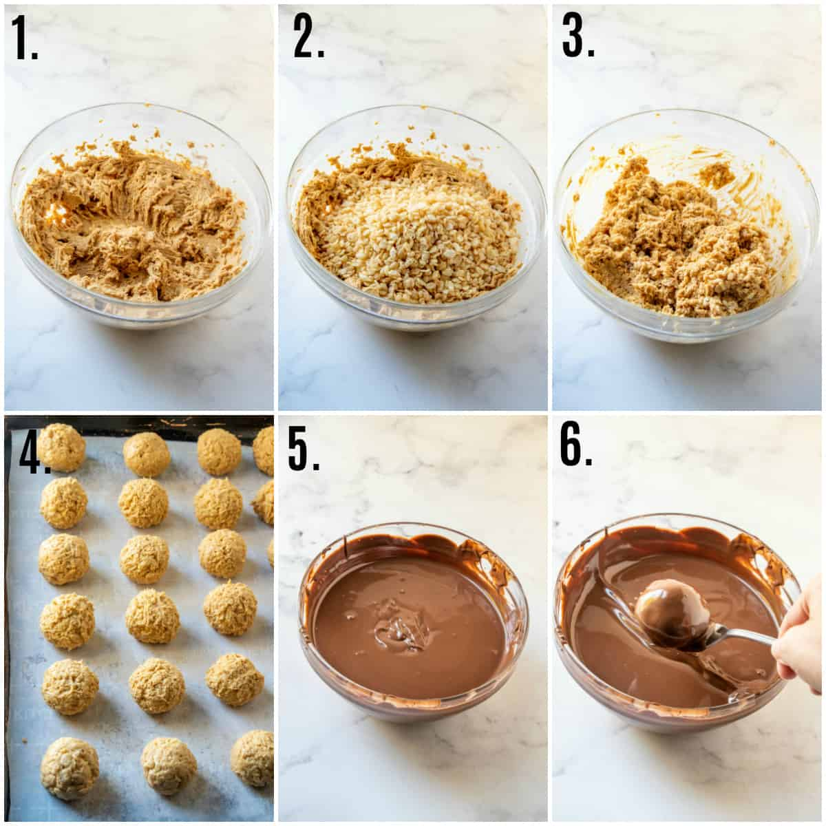 Step by step photos on how to make Rice Krispie Peanut Butter Balls