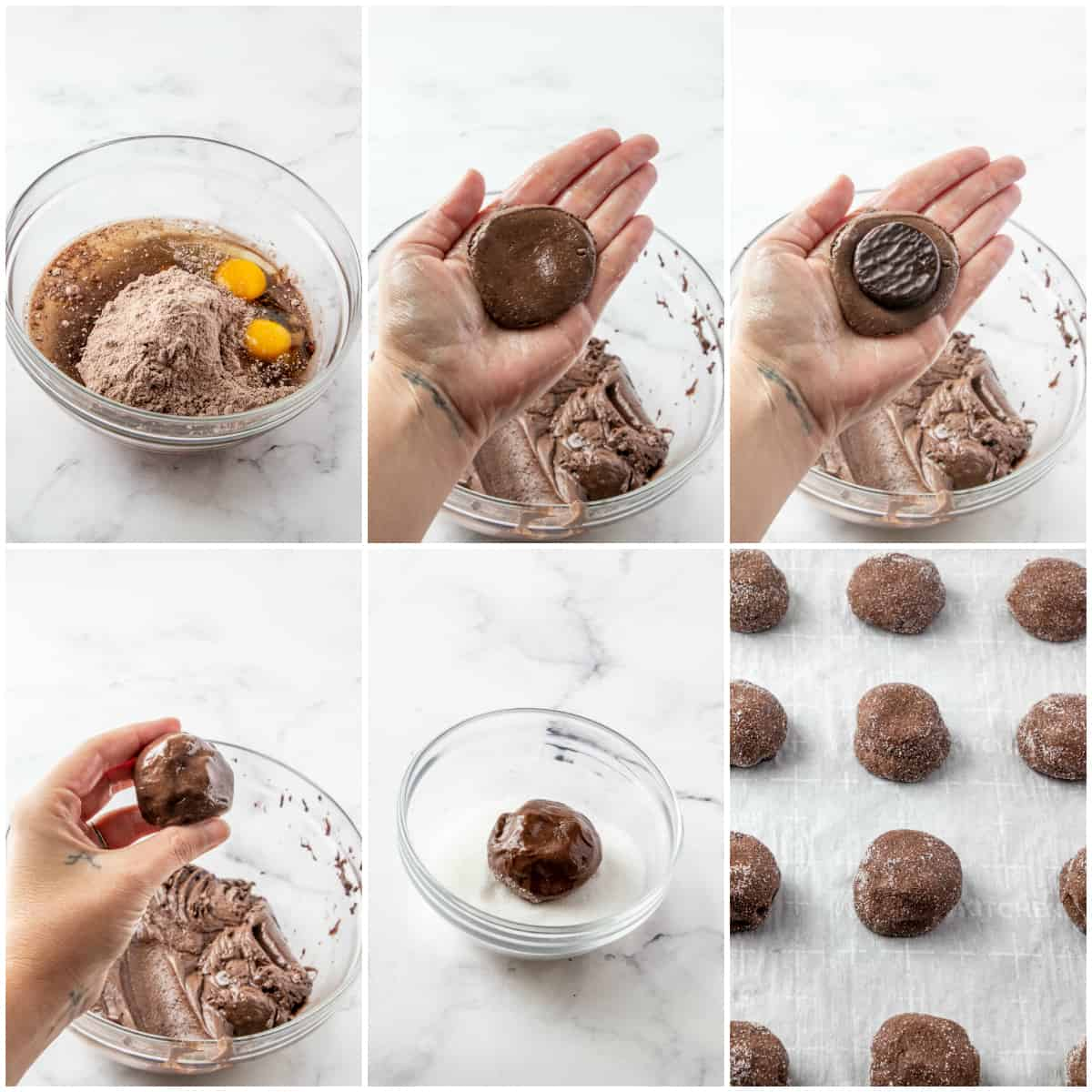 Step by step photos on how to make Chocolate Peppermint Cookies