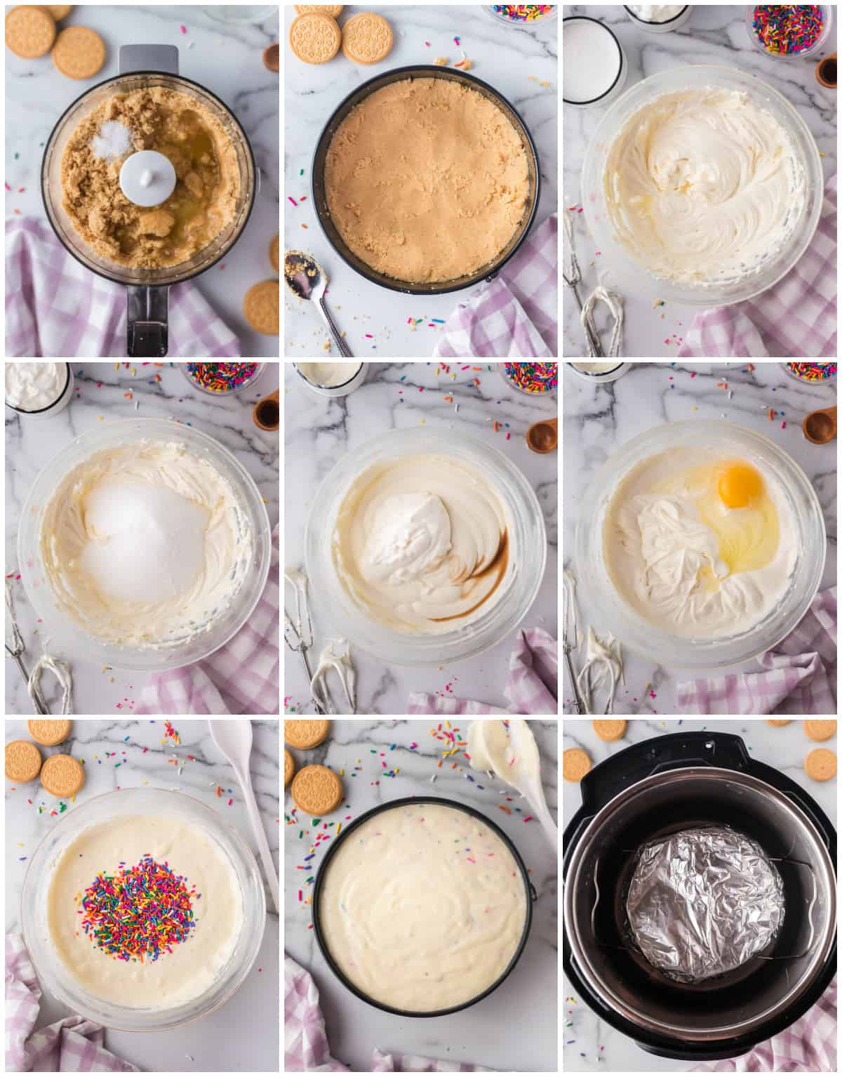 Step by step photos on how to make Funfetti Instant Pot Cheesecake