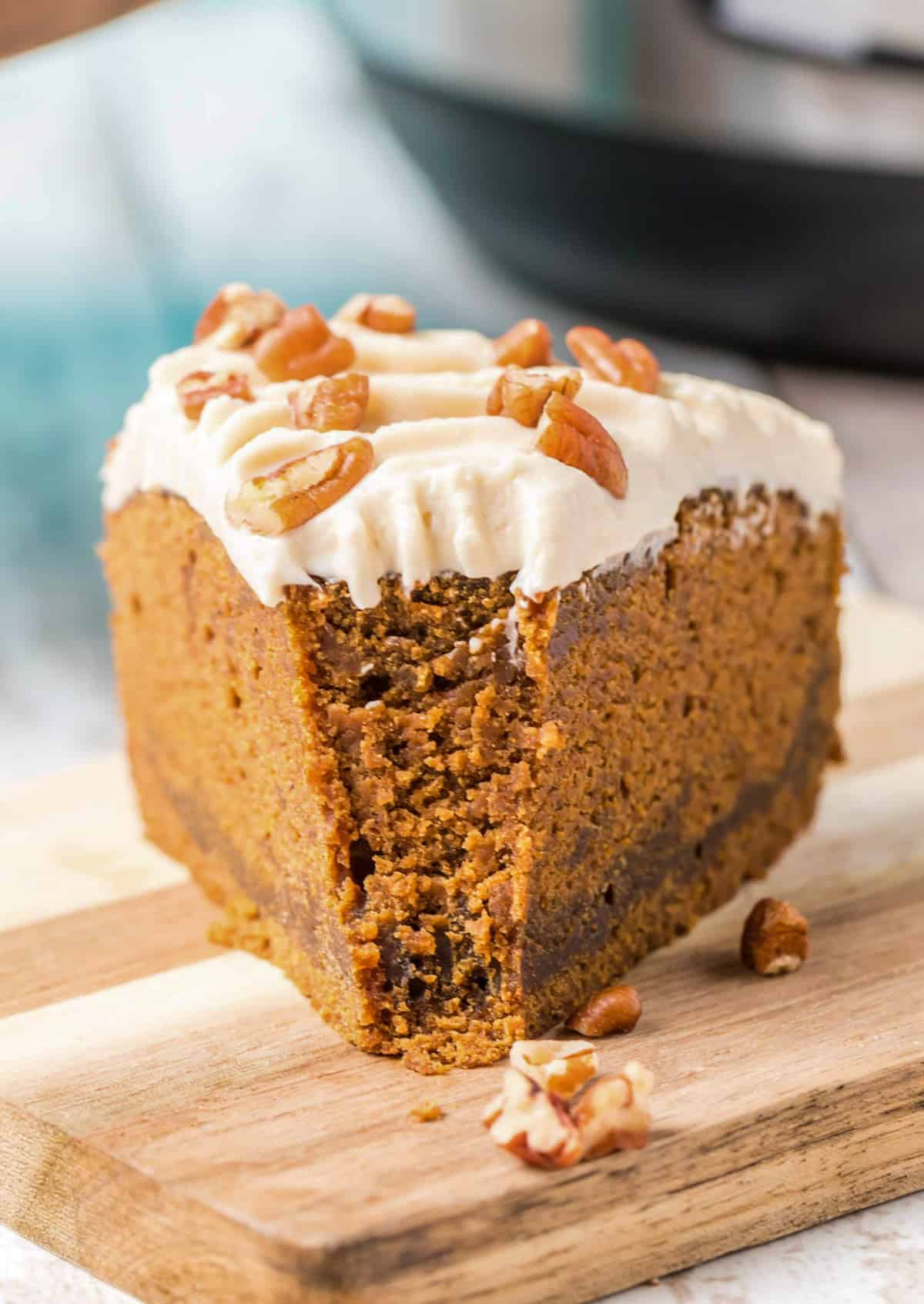 Close up of Instant Pot Gingerbread Cake with bite taken out
