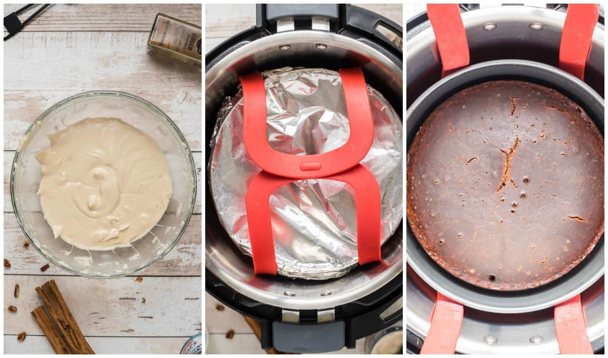 Step by step photos on how to make Instant Pot Gingerbread Cake
