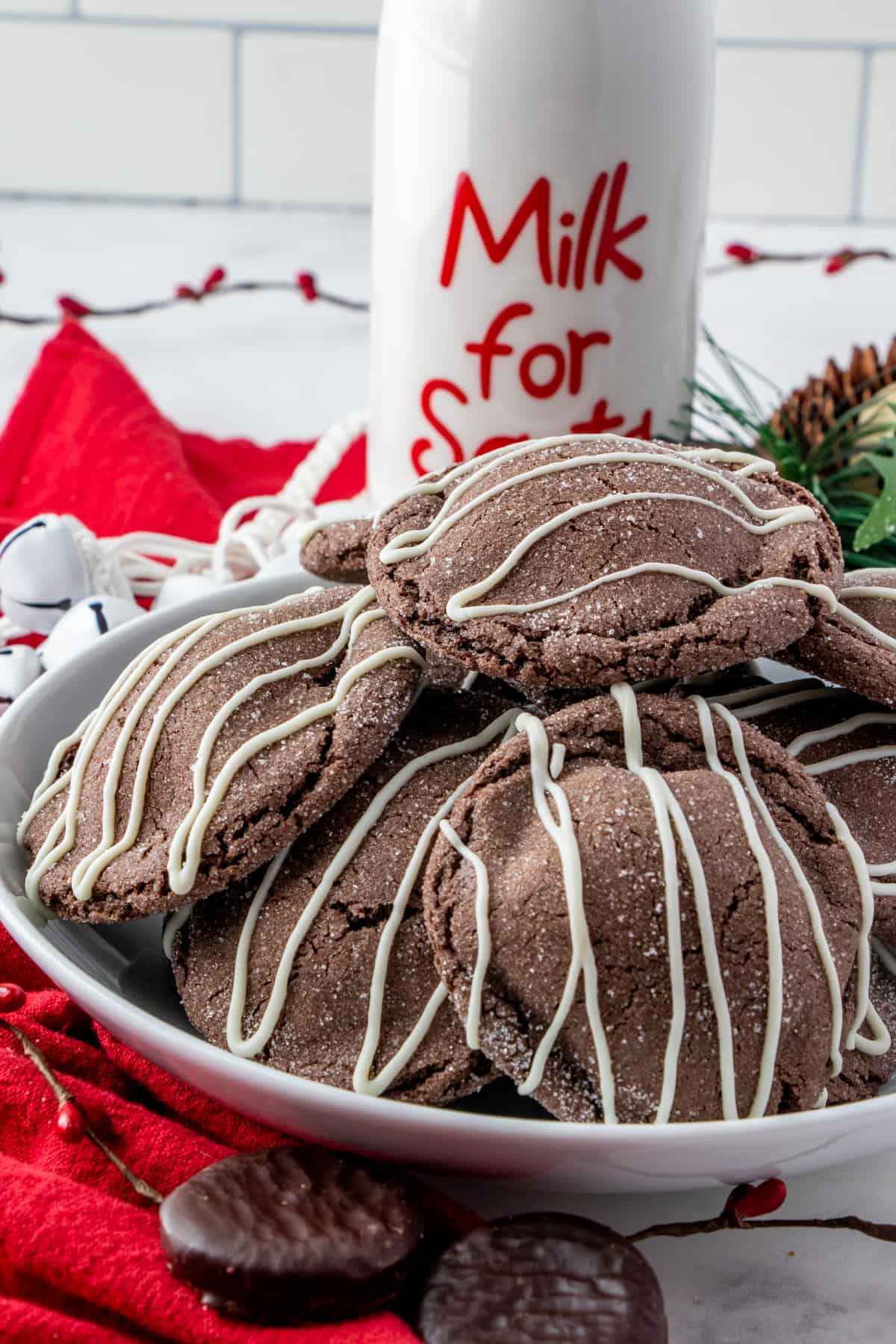 Chocolate Peppermint Cookies on white plate