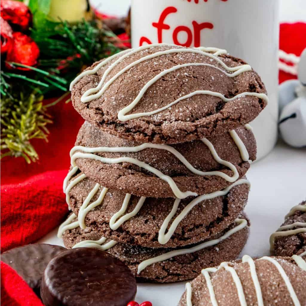 Chocolate Peppermint Cookies stacked on top of one another square image