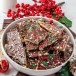 Stacked Peppermint Christmas Crack in white bowl Pinterest Image