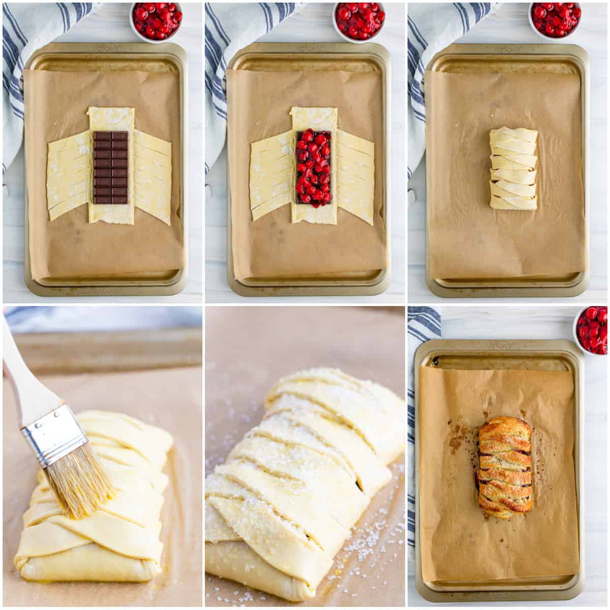 Step by step photos on how to make a Black Forest Puff Pastry Braid